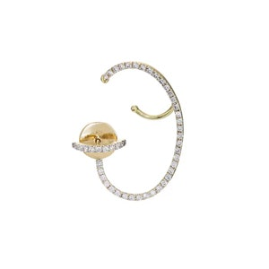 White-Diamond-Encrusted Lily Earring