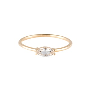 Marquise Ring in Solid Yellow Gold and White Topaz