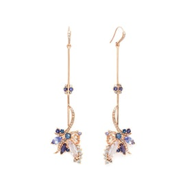 Butterfly Drop Earrings 18k Rose in Gold & Tanzanite