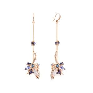 Butterfly Drop Earrings 18k Rose in Gold & Tanzanite