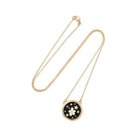 Dark Blossoms 18-Karat Gold, Diamond And Enamel Necklace
