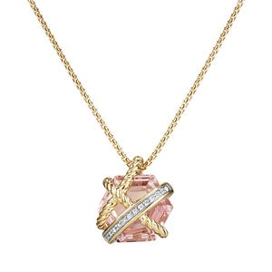 Cable Wrap Necklace with Morganite and Diamonds in 18K Gold, 10mm