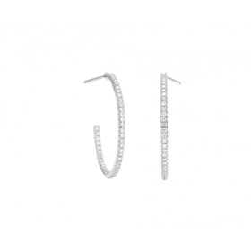 Micropavé White Gold Medium Hoop Earrings