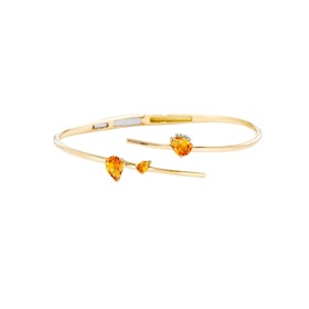 Asymmetrical Bangle with Three Pear Shaped Stone Details
