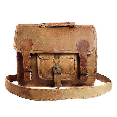 Natural Leather Handmade Fairtrade Alder Satchel