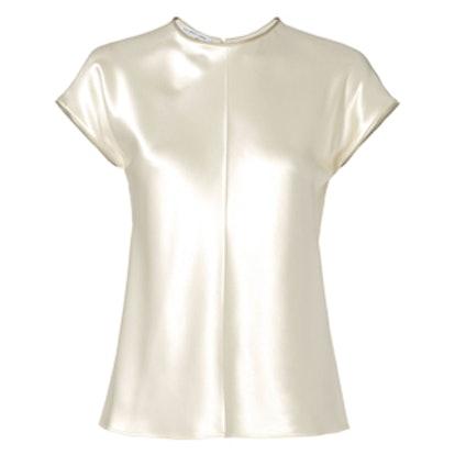 Zip-Trimmed Silk Top