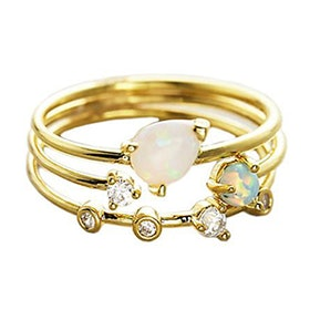 Triple Ring Set With Opal And CZ Stones