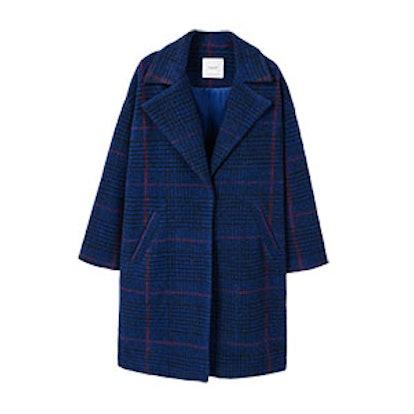 Checkered Wool-Blend Coat