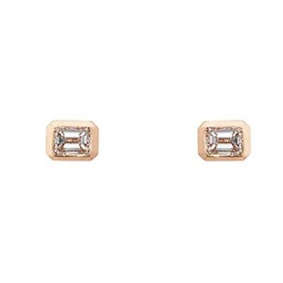 Emerald-Cut White Diamond Stud Earrings