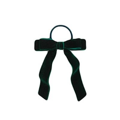 Velvet Hair Tie In Academic Green