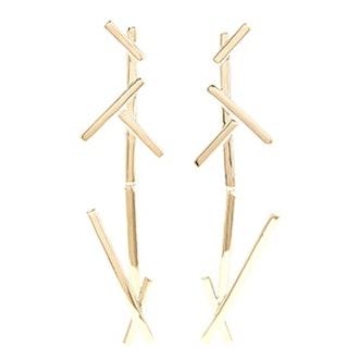 Slash Duster Gold-Pleated Earrings