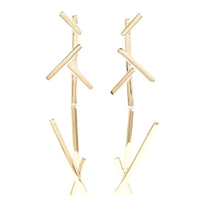 Slash Duster Gold-Pleated Earrings