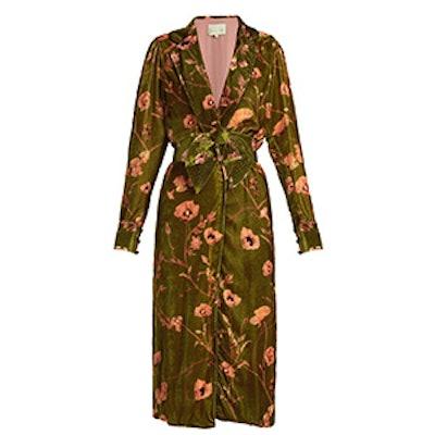 Florari Floral-Print Belted Kimono Dress