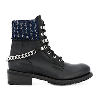 Tweed Detail Combat Boots