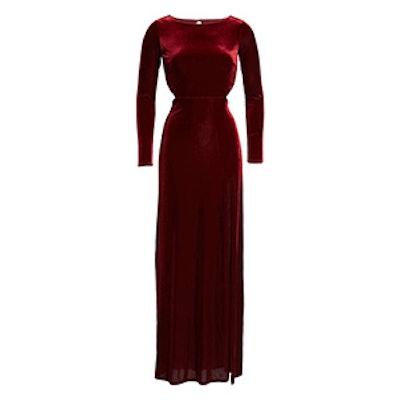 Besame Long Sleeve Velvet Maxi Dress