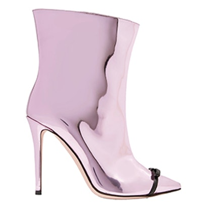Bow-Embellished Perspex-Trimmed Mirrored-Leather Ankle Boots