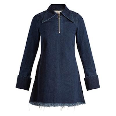 Point-Collar Raw Edge Denim Mini Dress