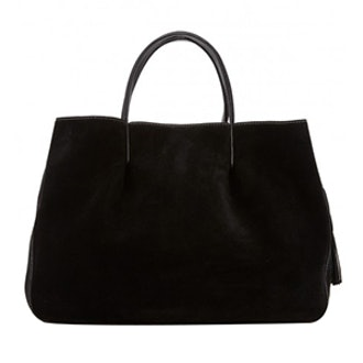 Astor Ruffle Suede Pinched Tote