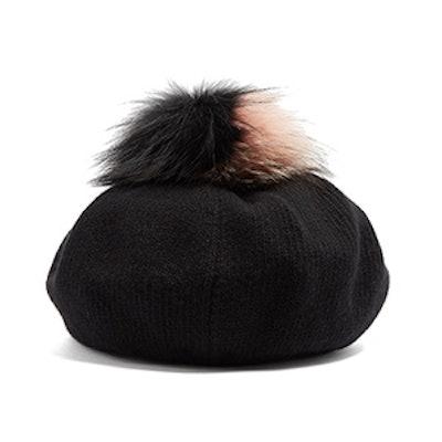Fur-Pom Pom Wool And Cashmere-Blend Beret