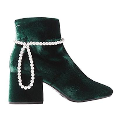 Faux Pearl-Embellished Velvet Ankle Boots