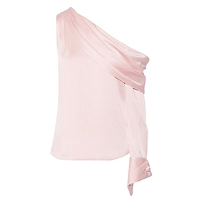 One-Shoulder Draped Satin Blouse