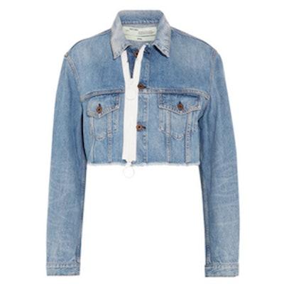 Cropped Frayed Denim Jacket