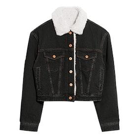 Faux Fur Collar Denim Jacket