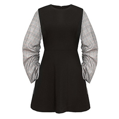 Romie Check Ruched Sleeve Dress