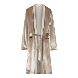 Silk Charmeuse-Trimmed Velvet Robe