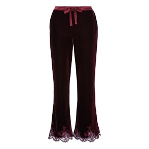 Rose Imperial Chantilly Lace And Satin-Trimmed Velvet Pajama Pants