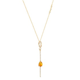 Necklace With Pave Bar And Pear Shaped Gemstone