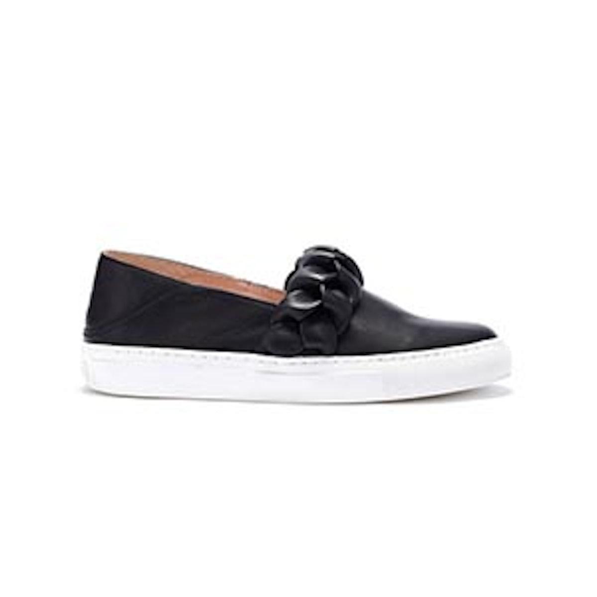 Burke Braided Leather Slip-On Sneakers — Black