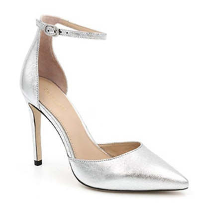 Hayworth Ankle-Strap Metallic Leather Pumps