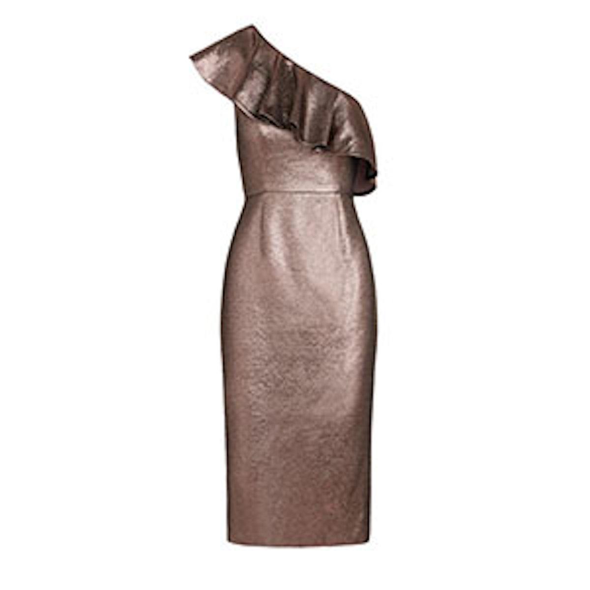 Tabitha Mauve Metallic Jacquard One-Shoulder Dress