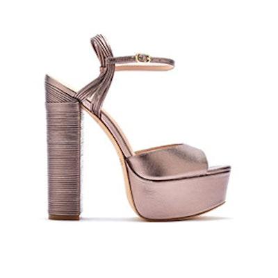 Willow Metallic Leather Platform Sandals — Blush