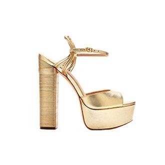 Willow Metallic Leather Platform Sandals — Gold