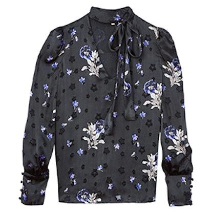 Violet Floral Satin Burnout Scarf Neck Top