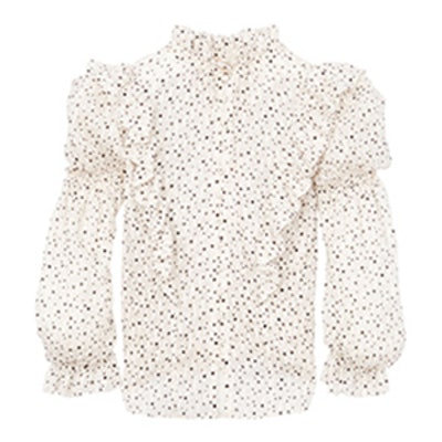 Scattered Star Print Ruffle Top