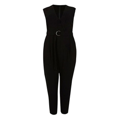 Plus Black Sleeveless Tailored Jumpsuit