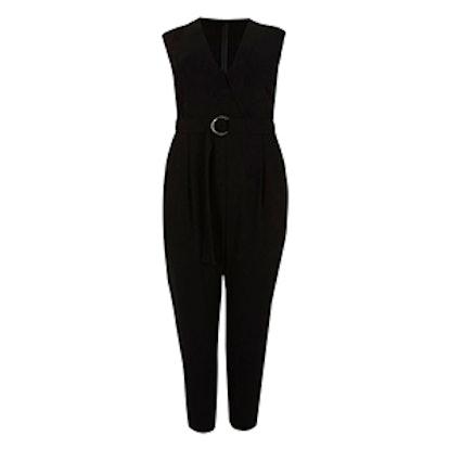 Plus Black Sleeveless Tailored Jumpsuit