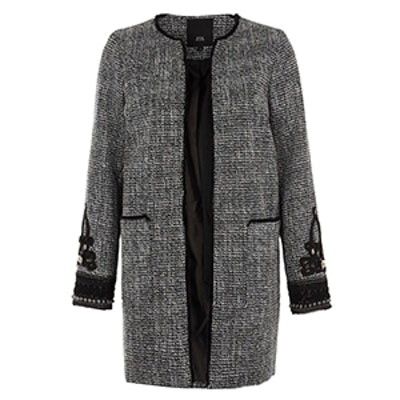 Tweed Embroidered Cuff Coat
