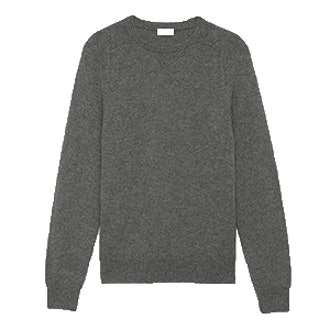 Classic Saint Laurent Crewneck Sweater In Grey Cashmere
