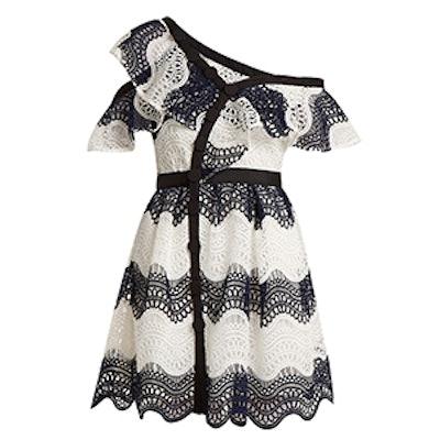 One-Shoulder Asymmetric Guipure-Lace Dress