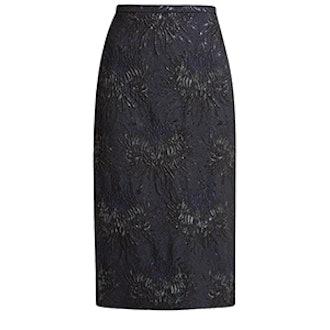 Floral-Cloqué Pencil Skirt