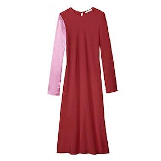 Color Block Silk Midi Bias Dress