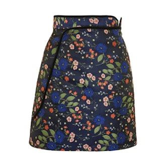 Floral Satin Jacquard Mini Skirt