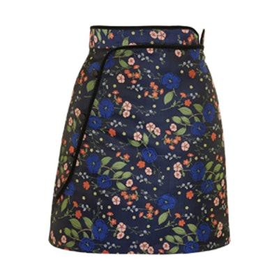 Floral Satin Jacquard Mini Skirt