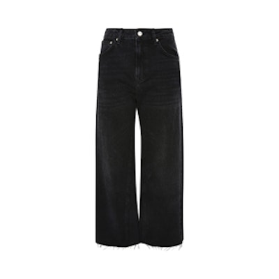 Moto Washed Black Wide Leg Jeans