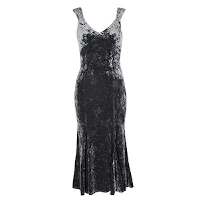 Fish Tail Wide Strap Midi Dress