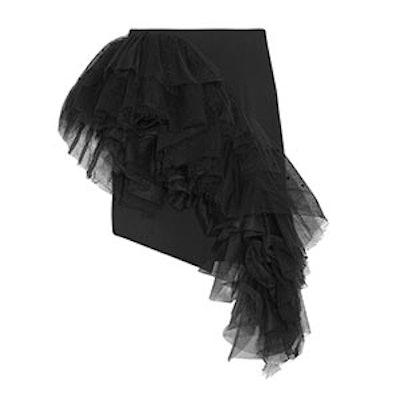 Ruffled Flocked Tulle And Wool-Gabardine Mini Skirt